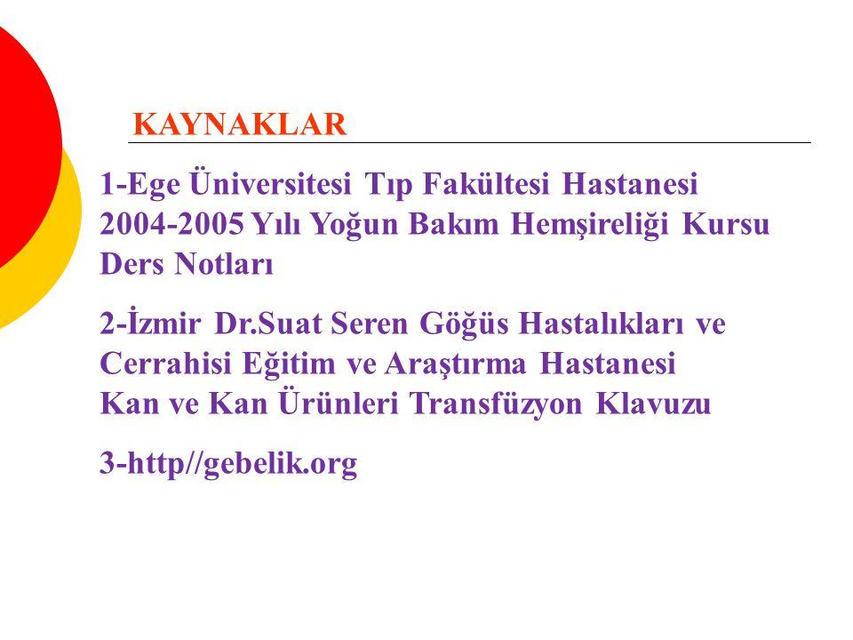 KAYNAKLAR 1-Ege Üniversitesi Tıp Fakültesi Hastanesi 2004-2005 Yılı Yoğun Bakım Hemşireliği Kursu Ders Notları.