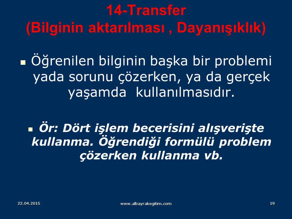 14-Transfer (Bilginin aktarılması , Dayanışıklık)