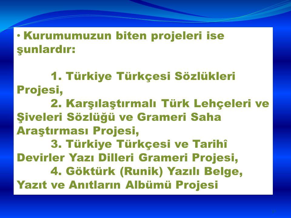 Kurumumuzun biten projeleri ise şunlardır: 1