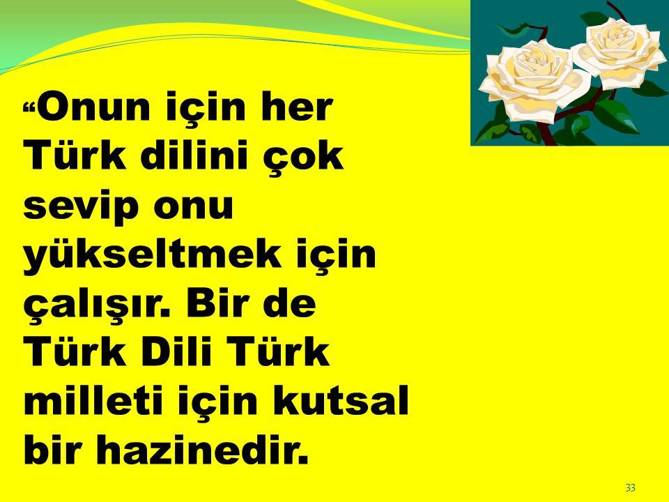 Onun için her Türk dilini çok sevip onu yükseltmek için çalışır