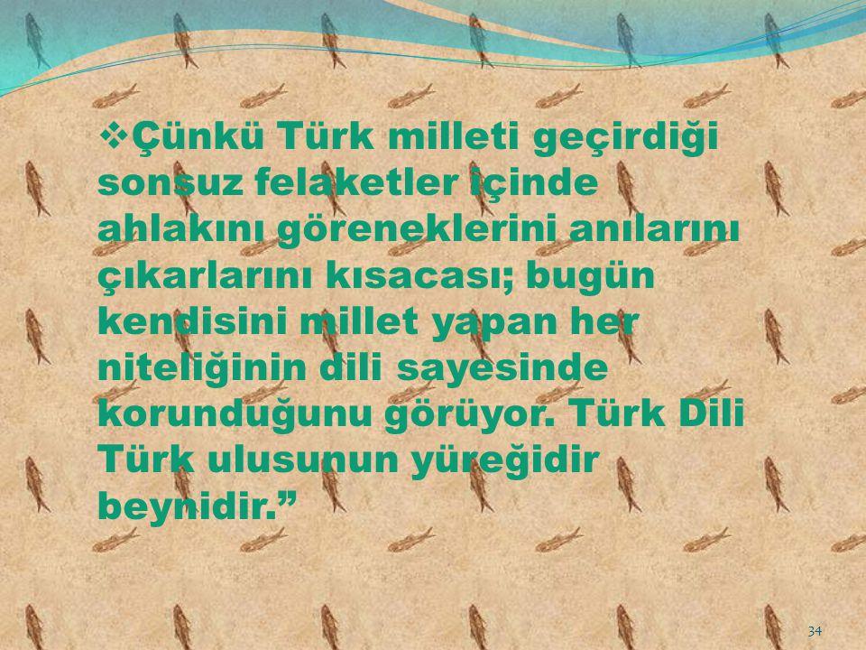 Çünkü Türk milleti geçirdiği sonsuz felaketler içinde ahlakını göreneklerini anılarını çıkarlarını kısacası; bugün kendisini millet yapan her niteliğinin dili sayesinde korunduğunu görüyor.