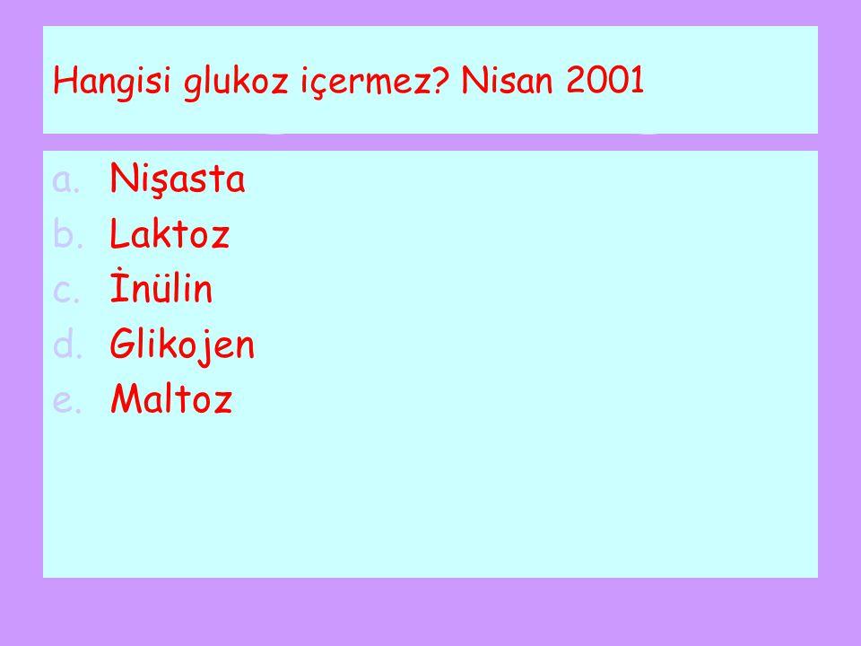 Hangisi glukoz içermez Nisan 2001