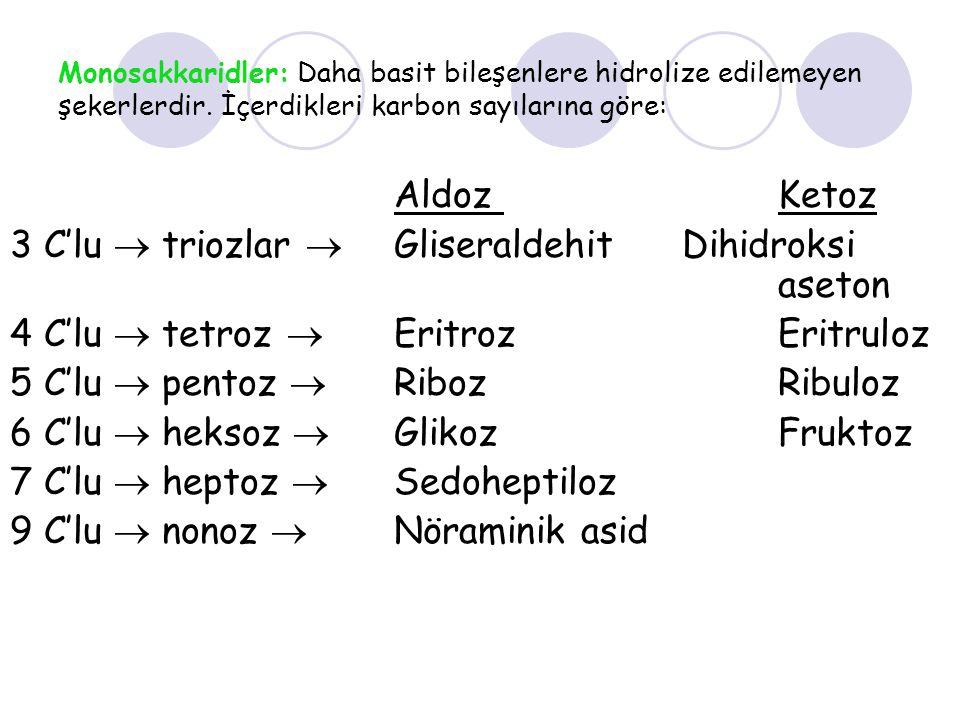 3 C'lu  triozlar  Gliseraldehit Dihidroksi aseton