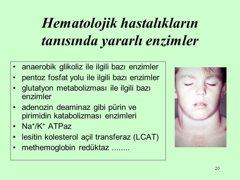 Hematolojik hastalıkların tanısında yararlı enzimler