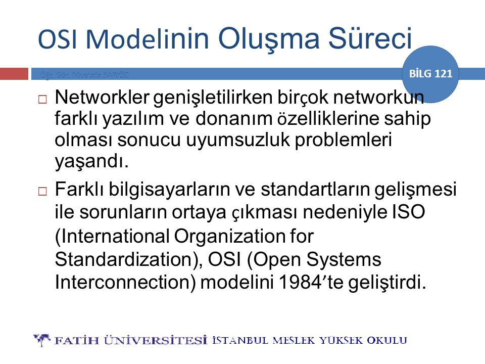 OSI Modelinin Oluşma Süreci