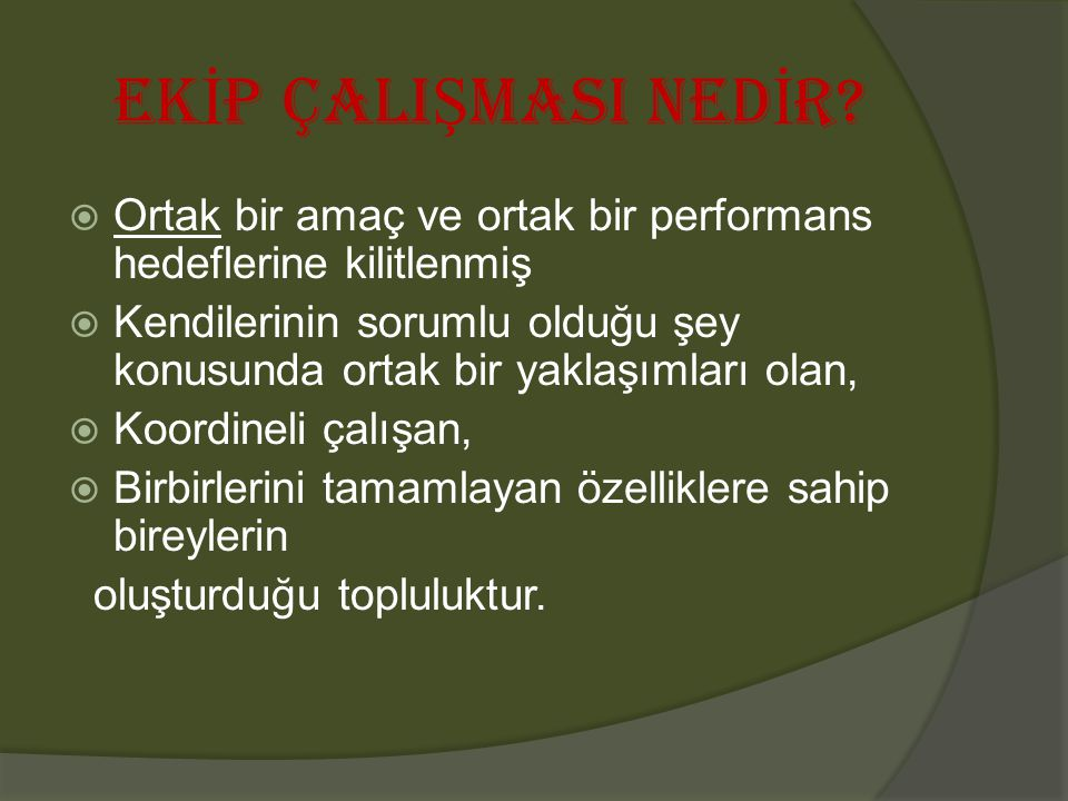 EKİP ÇALIŞMASI NEDİR Ortak bir amaç ve ortak bir performans hedeflerine kilitlenmiş.