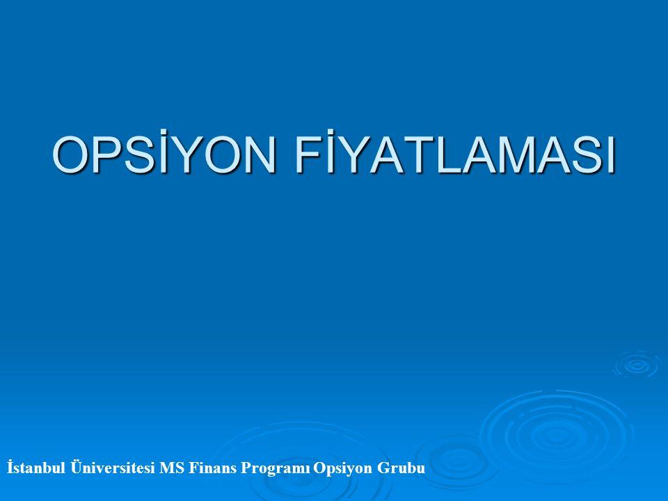 OPSİYON FİYATLAMASI İstanbul Üniversitesi MS Finans Programı Opsiyon Grubu