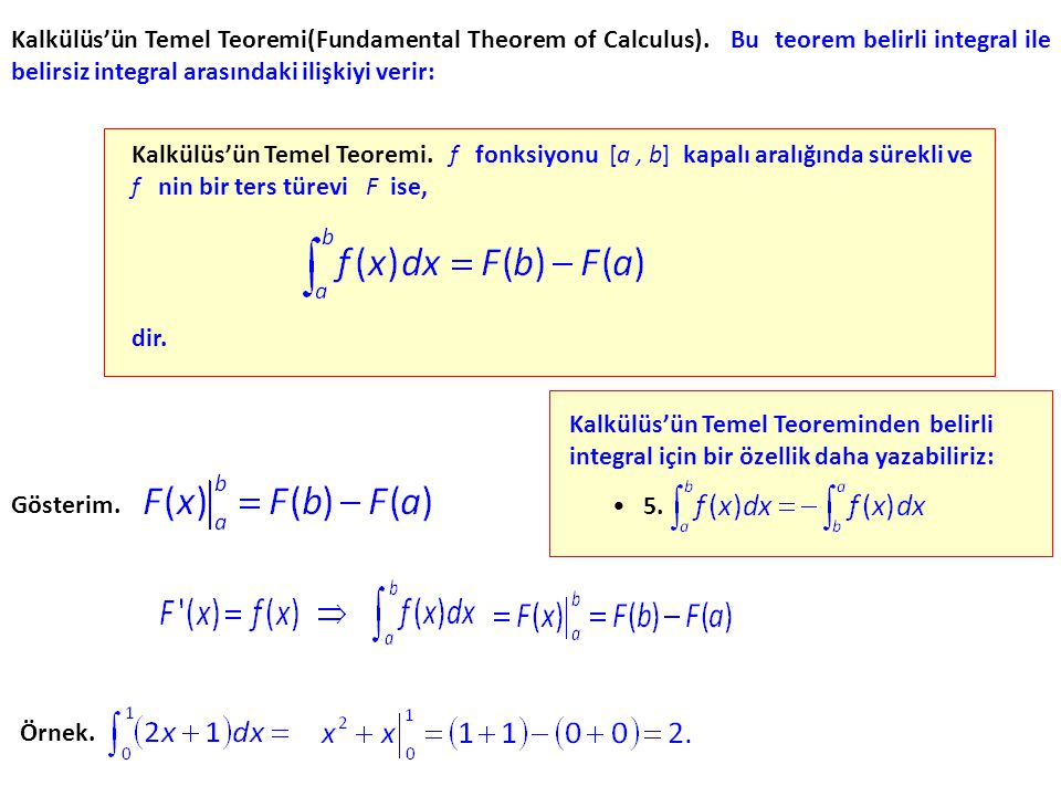 Kalkülüs'ün Temel Teoremi(Fundamental Theorem of Calculus)