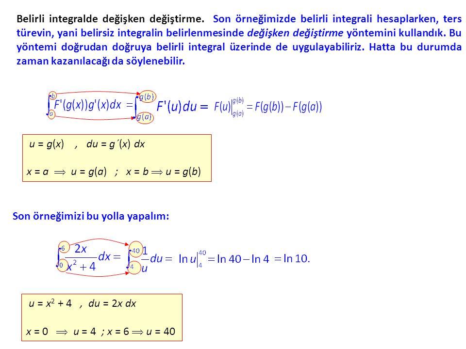 Belirli integralde değişken değiştirme