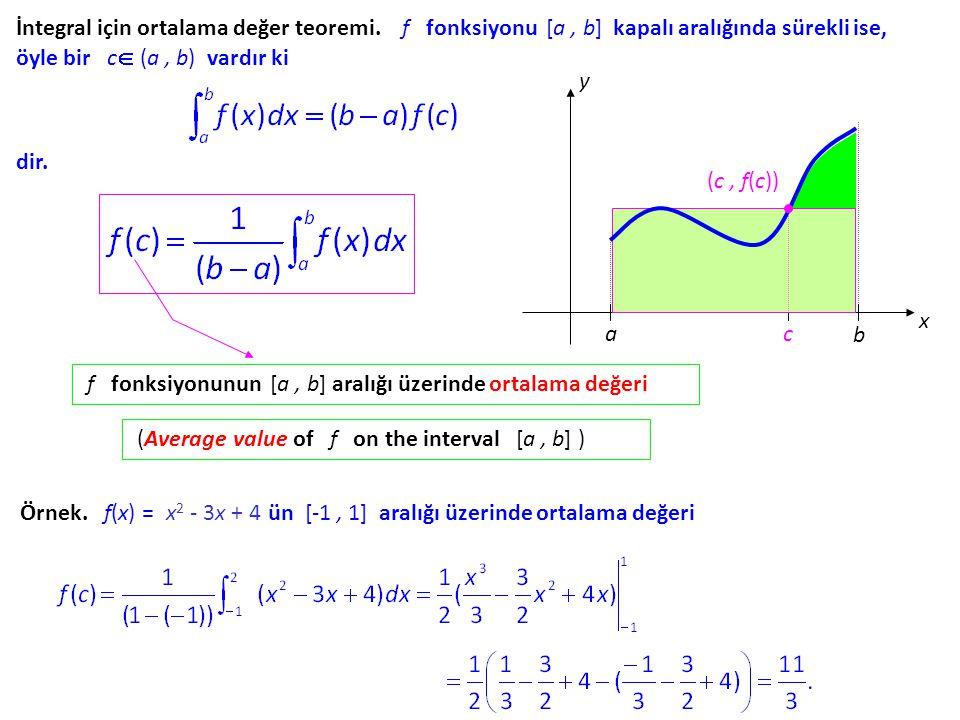 İntegral için ortalama değer teoremi
