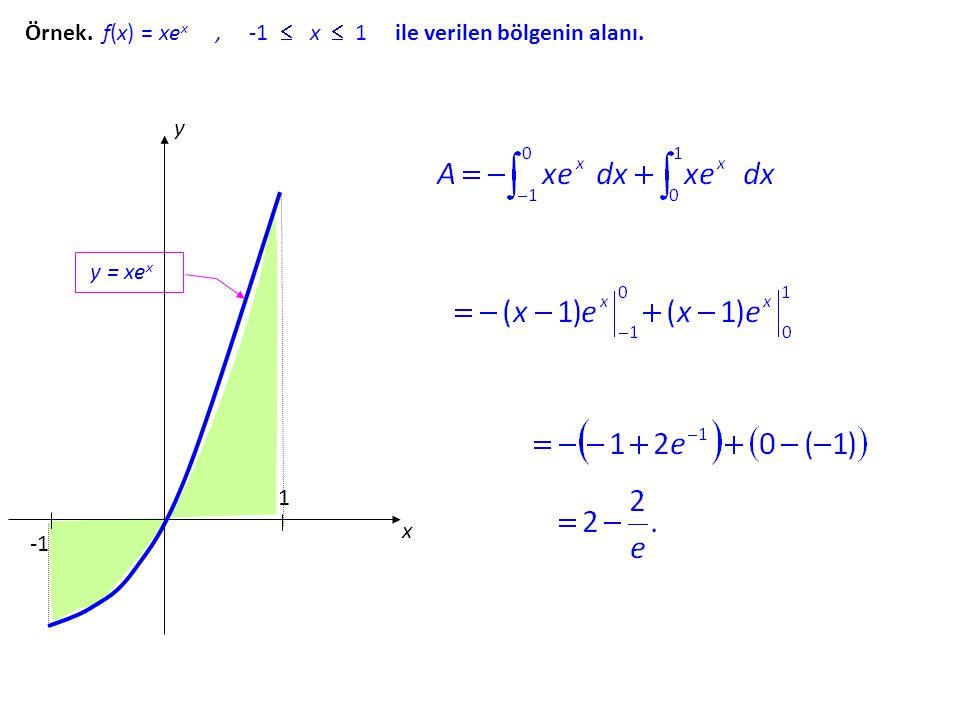 Örnek. f(x) = xex , -1  x  1 ile verilen bölgenin alanı.