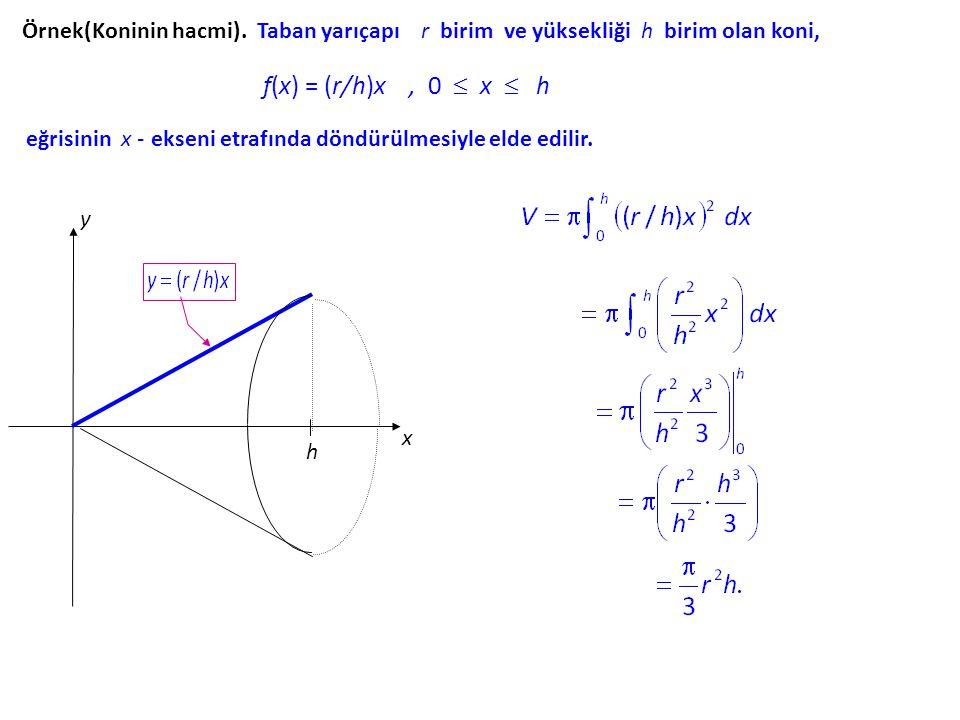 Örnek(Koninin hacmi). Taban yarıçapı r birim ve yüksekliği h birim olan koni,