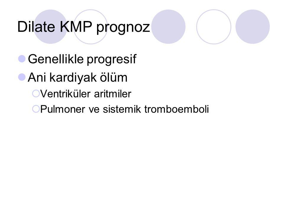 Dilate KMP prognoz Genellikle progresif Ani kardiyak ölüm
