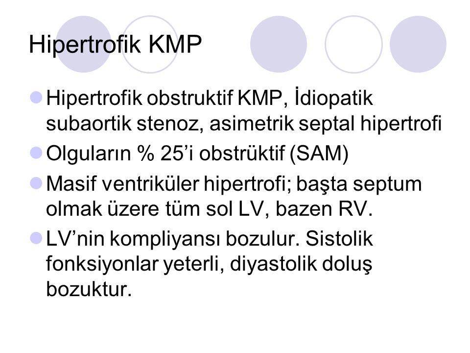 Hipertrofik KMP Hipertrofik obstruktif KMP, İdiopatik subaortik stenoz, asimetrik septal hipertrofi.