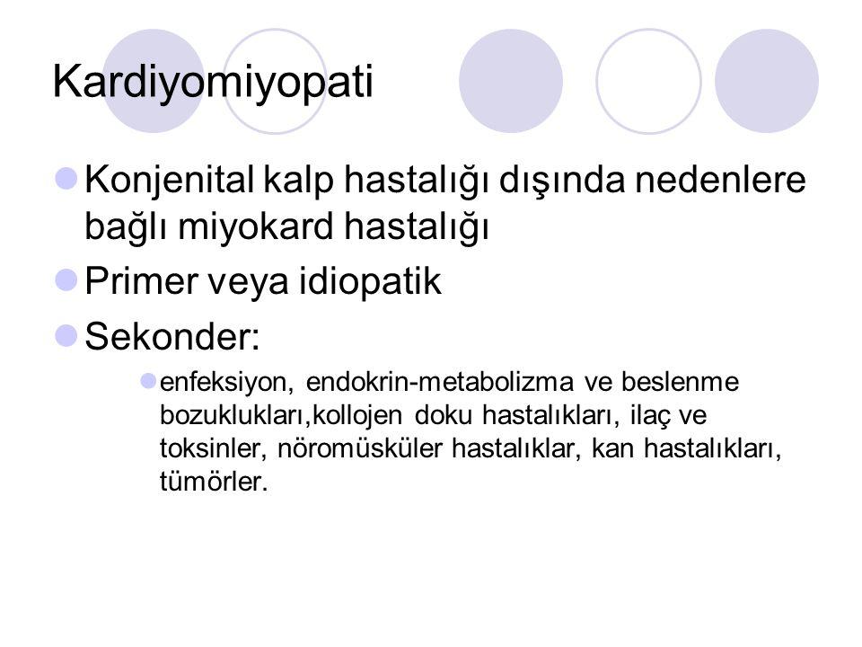 Kardiyomiyopati Konjenital kalp hastalığı dışında nedenlere bağlı miyokard hastalığı. Primer veya idiopatik.