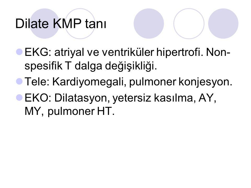 Dilate KMP tanı EKG: atriyal ve ventriküler hipertrofi. Non-spesifik T dalga değişikliği. Tele: Kardiyomegali, pulmoner konjesyon.