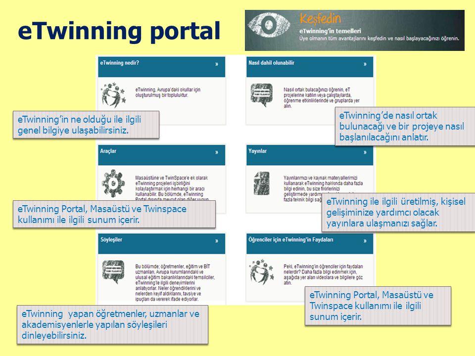 eTwinning portal eTwinning'de nasıl ortak bulunacağı ve bir projeye nasıl başlanılacağını anlatır.