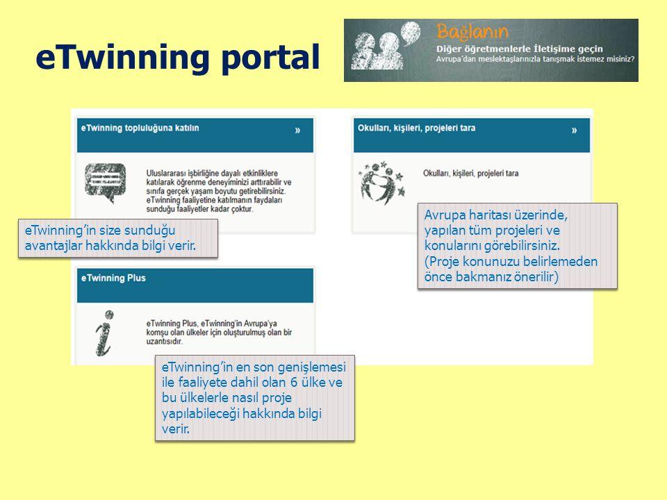 eTwinning portal Avrupa haritası üzerinde, yapılan tüm projeleri ve konularını görebilirsiniz. (Proje konunuzu belirlemeden önce bakmanız önerilir)