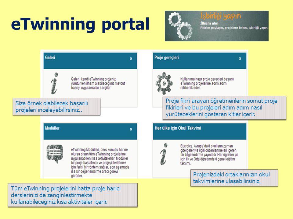 eTwinning portal Proje fikri arayan öğretmenlerin somut proje fikirleri ve bu projeleri adım adım nasıl yürüteceklerini gösteren kitler içerir.