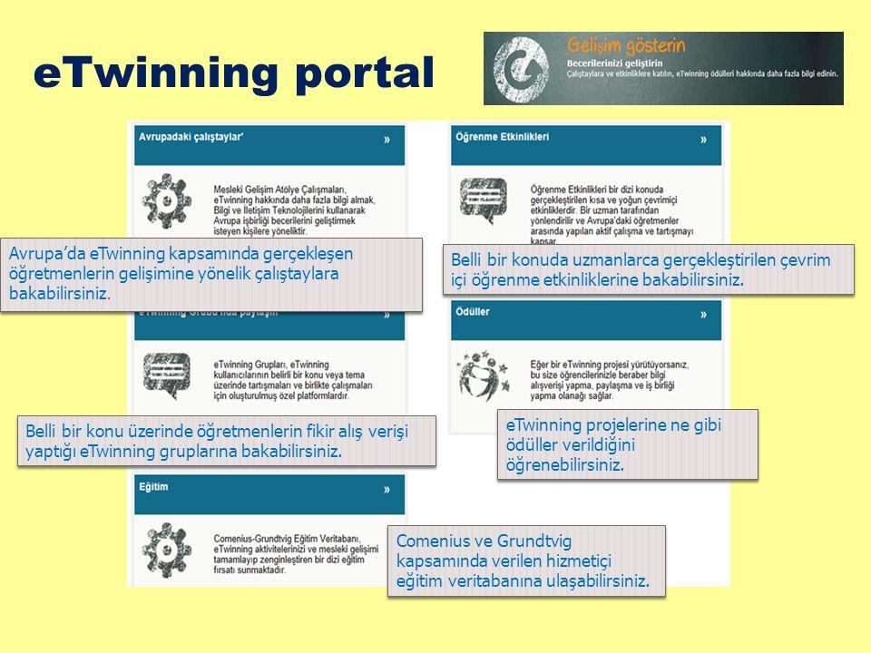 eTwinning portal Avrupa'da eTwinning kapsamında gerçekleşen öğretmenlerin gelişimine yönelik çalıştaylara bakabilirsiniz.