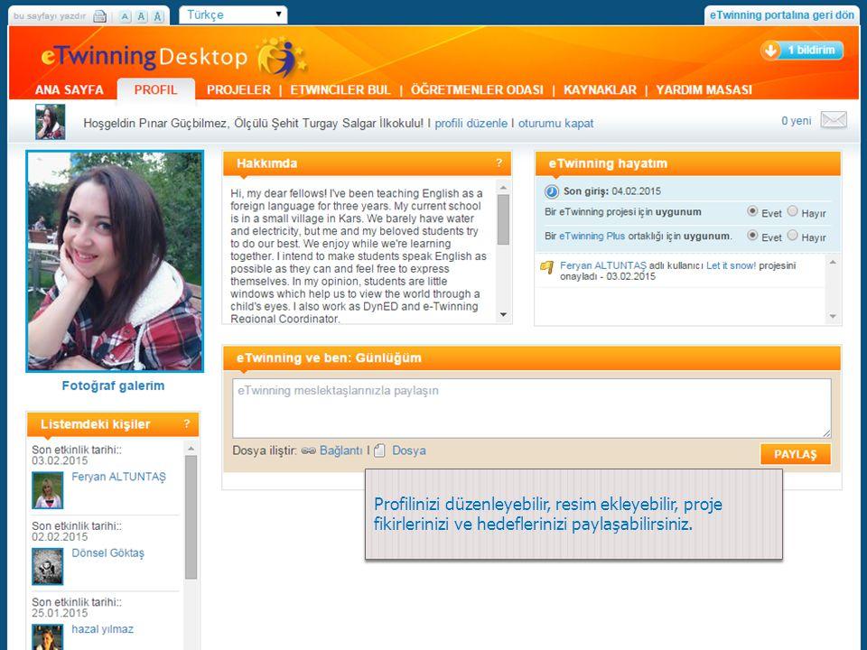 Profilinizi düzenleyebilir, resim ekleyebilir, proje fikirlerinizi ve hedeflerinizi paylaşabilirsiniz.