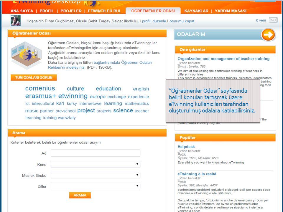 ''Öğretmenler Odası'' sayfasında belirli konuları tartışmak üzere eTwinning kullanıcıları tarafından oluşturulmuş odalara katılabilirsiniz.