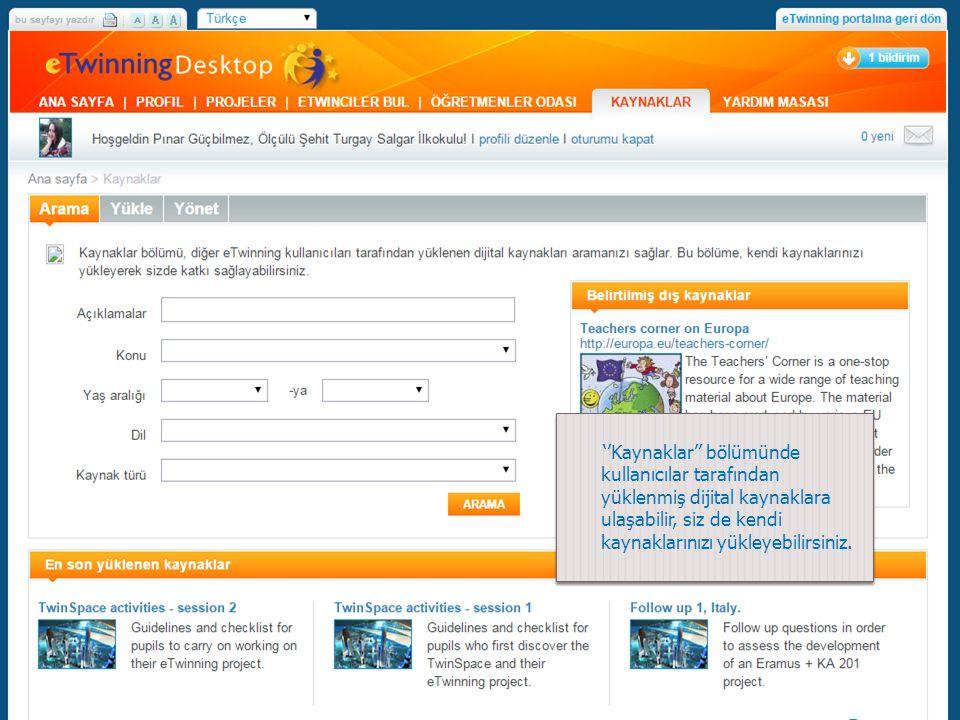 ''Kaynaklar'' bölümünde kullanıcılar tarafından yüklenmiş dijital kaynaklara ulaşabilir, siz de kendi kaynaklarınızı yükleyebilirsiniz.