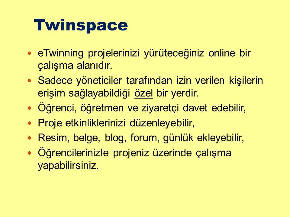 Twinspace eTwinning projelerinizi yürüteceğiniz online bir çalışma alanıdır.