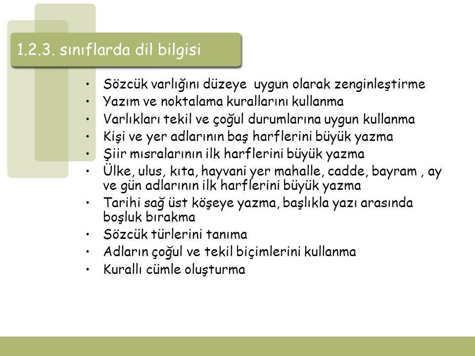 1.2.3. sınıflarda dil bilgisi