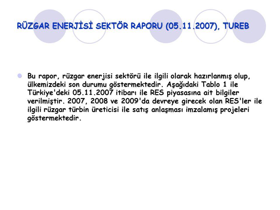RÜZGAR ENERJİSİ SEKTÖR RAPORU (05.11.2007), TUREB