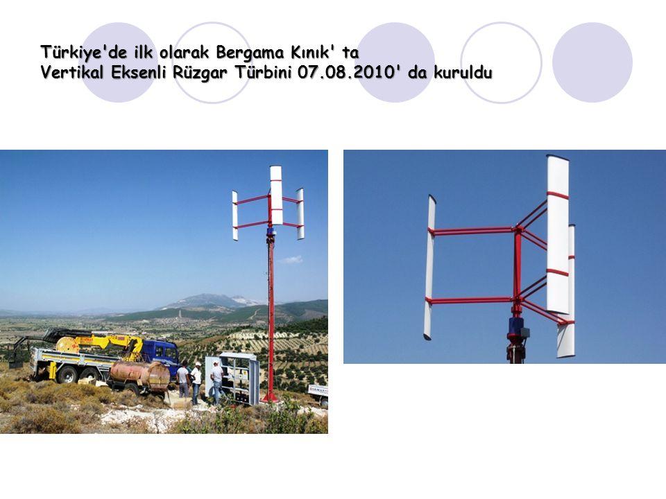 Türkiye de ilk olarak Bergama Kınık ta Vertikal Eksenli Rüzgar Türbini 07.08.2010 da kuruldu