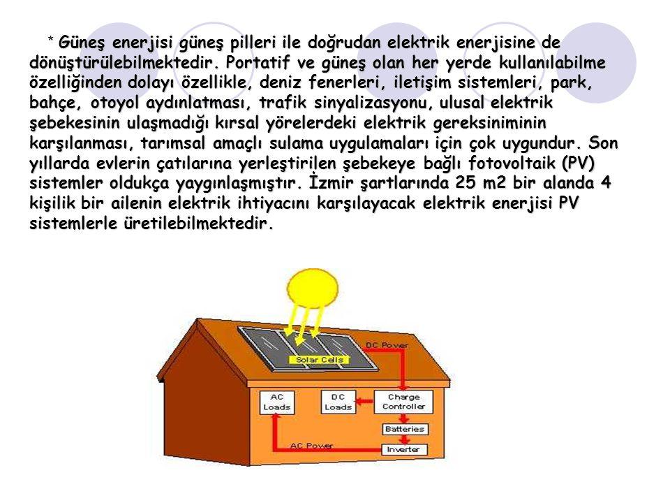 * Güneş enerjisi güneş pilleri ile doğrudan elektrik enerjisine de dönüştürülebilmektedir. Portatif ve güneş olan her yerde kullanılabilme özelliğinden dolayı özellikle, deniz fenerleri, iletişim sistemleri, park, bahçe, otoyol aydınlatması, trafik sinyalizasyonu, ulusal elektrik