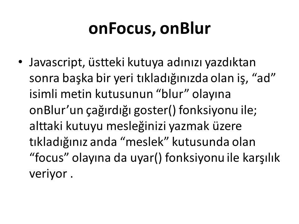 onFocus, onBlur