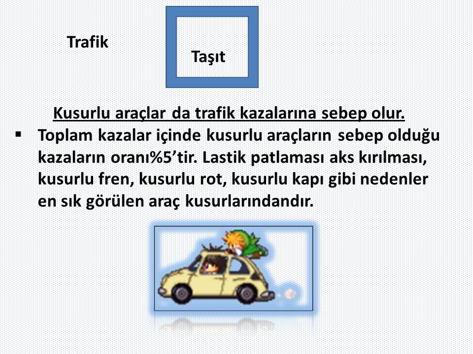 Kusurlu araçlar da trafik kazalarına sebep olur.