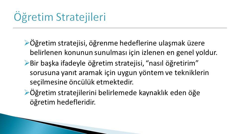 Öğretim Stratejileri Öğretim stratejisi, öğrenme hedeflerine ulaşmak üzere belirlenen konunun sunulması için izlenen en genel yoldur.