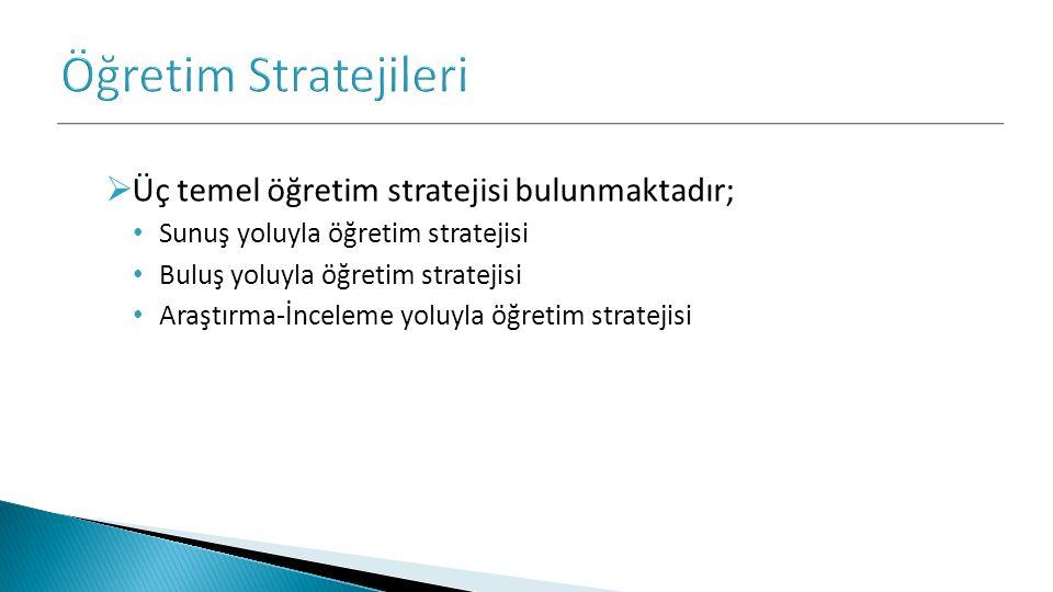 Öğretim Stratejileri Üç temel öğretim stratejisi bulunmaktadır;
