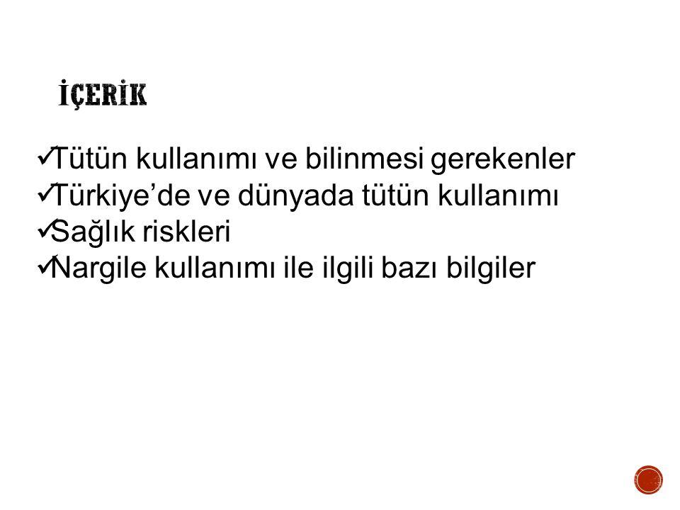 İÇERİK Tütün kullanımı ve bilinmesi gerekenler. Türkiye'de ve dünyada tütün kullanımı. Sağlık riskleri.