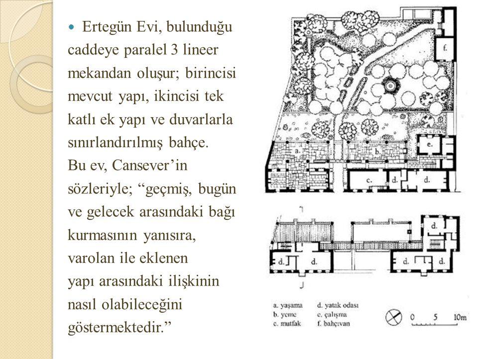 Ertegün Evi, bulunduğu caddeye paralel 3 lineer. mekandan oluşur; birincisi. mevcut yapı, ikincisi tek.