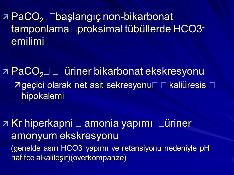 PaCO2¯ Þ üriner bikarbonat ekskresyonu