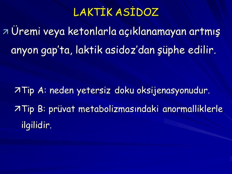 LAKTİK ASİDOZ Üremi veya ketonlarla açıklanamayan artmış anyon gap'ta, laktik asidoz'dan şüphe edilir.