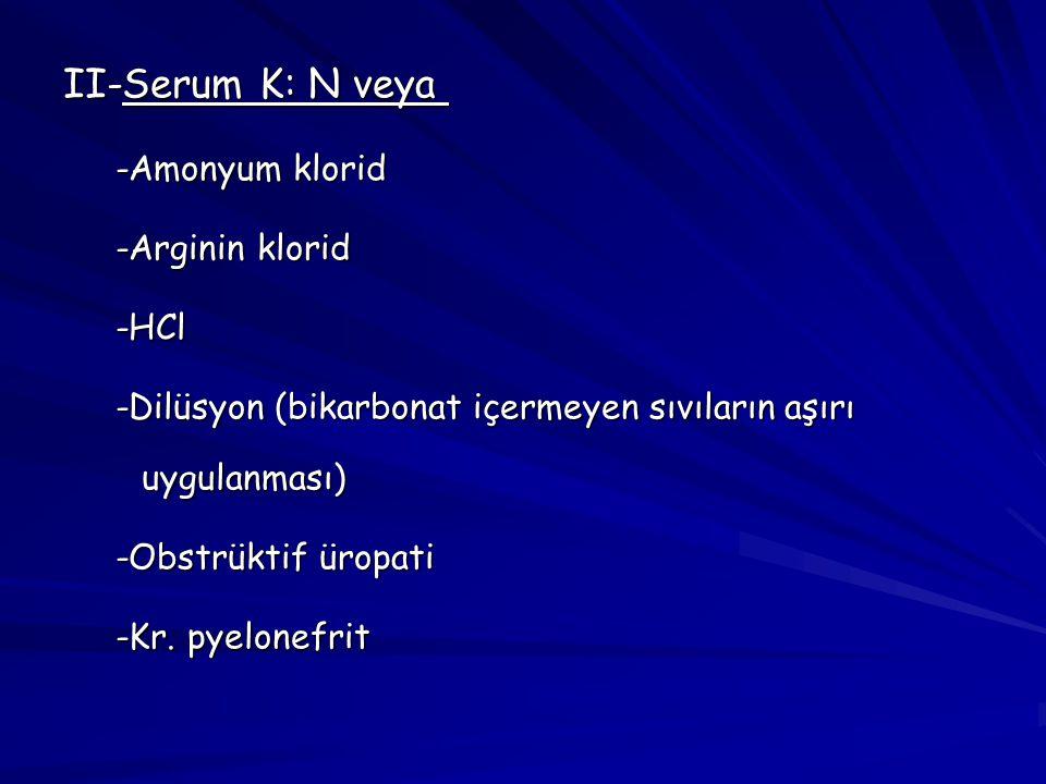 II-Serum K: N veya  -Amonyum klorid -Arginin klorid -HCl