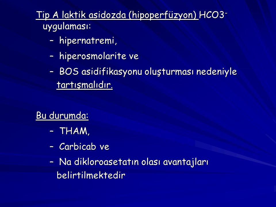 Tip A laktik asidozda (hipoperfüzyon) HCO3- uygulaması: