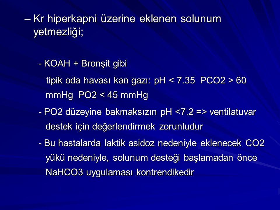 Kr hiperkapni üzerine eklenen solunum yetmezliği;
