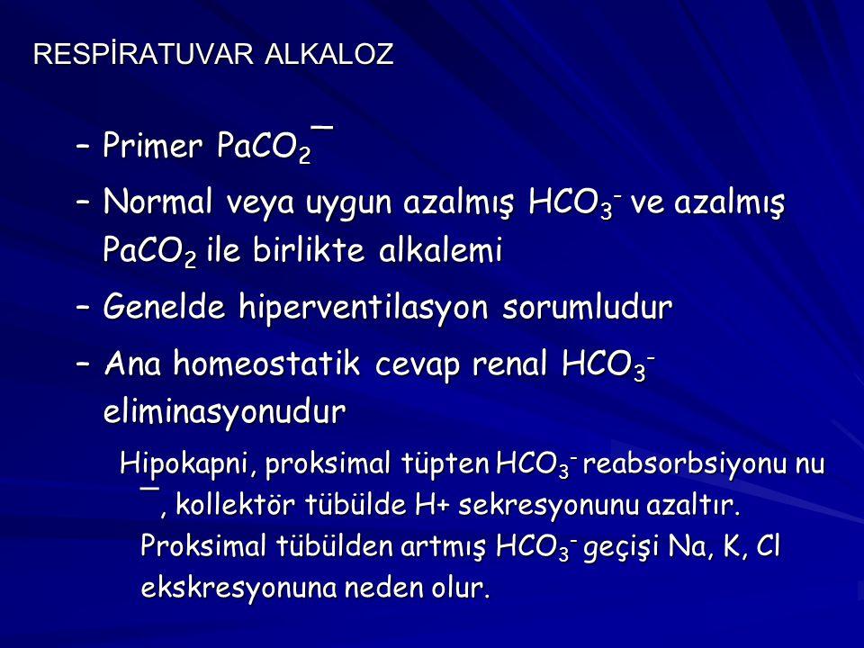 Normal veya uygun azalmış HCO3- ve azalmış PaCO2 ile birlikte alkalemi