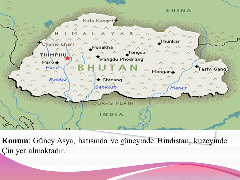 Konum: Güney Asya, batısında ve güneyinde Hindistan, kuzeyinde Çin yer almaktadır.