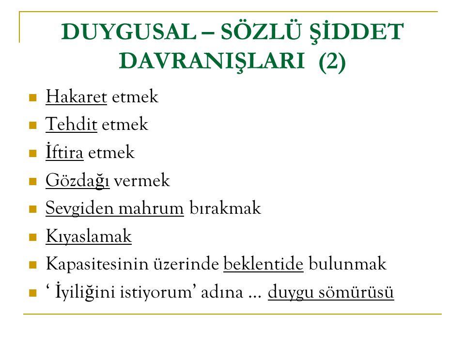 DUYGUSAL – SÖZLÜ ŞİDDET DAVRANIŞLARI (2)
