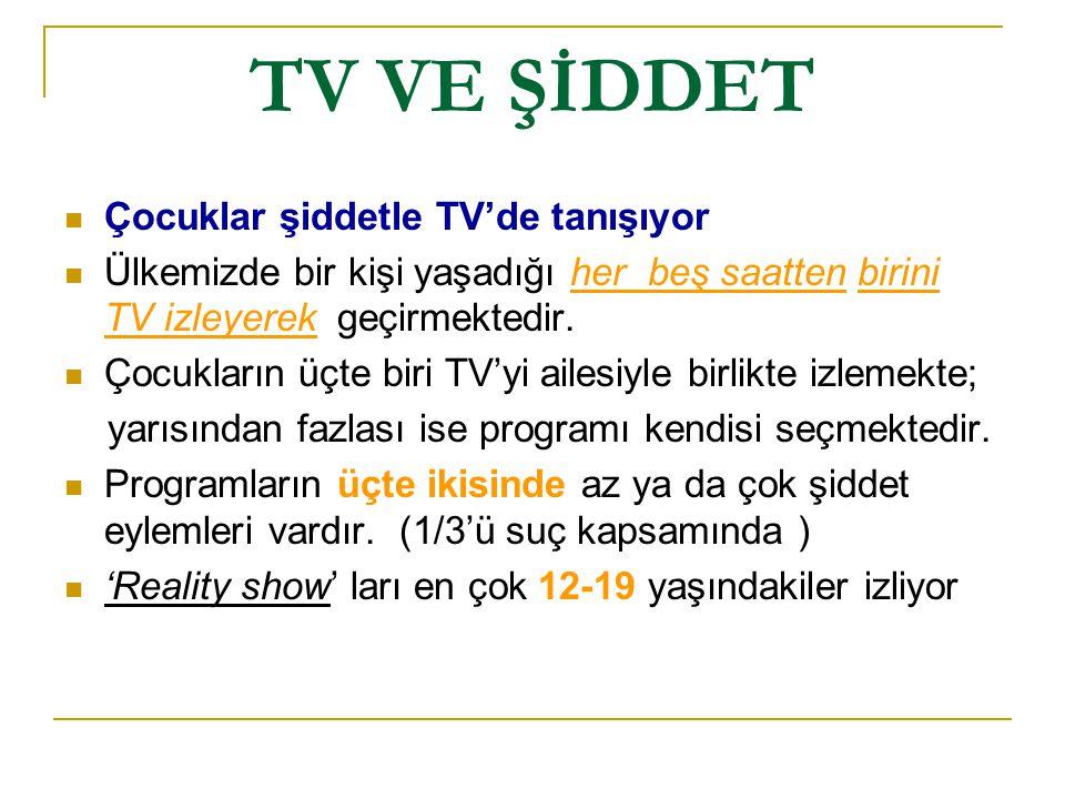 TV VE ŞİDDET Çocuklar şiddetle TV'de tanışıyor