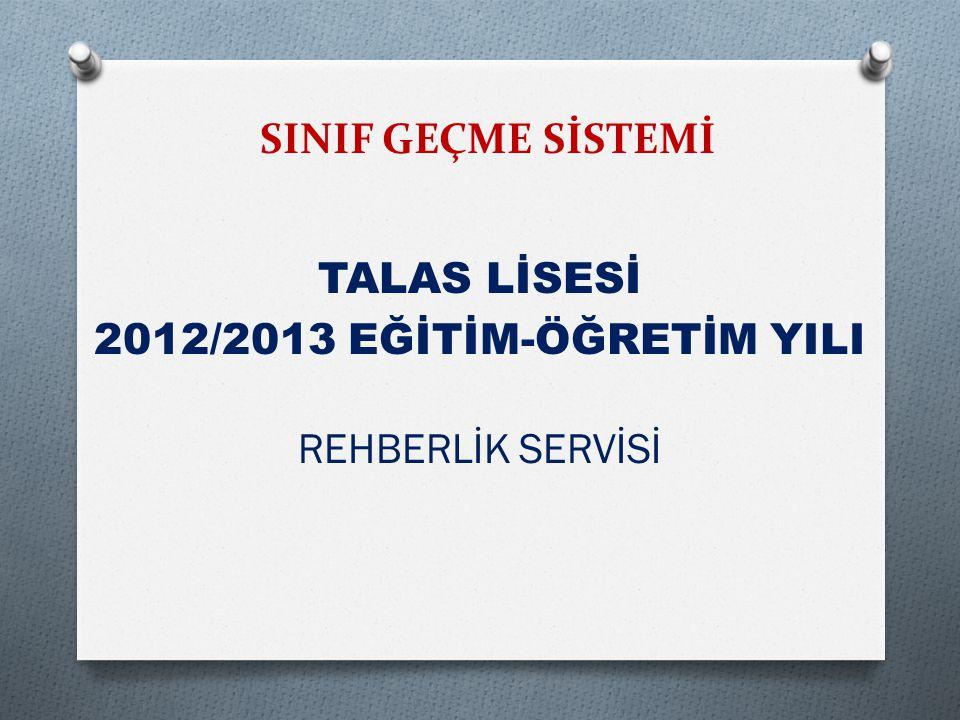 TALAS LİSESİ 2012/2013 EĞİTİM-ÖĞRETİM YILI REHBERLİK SERVİSİ