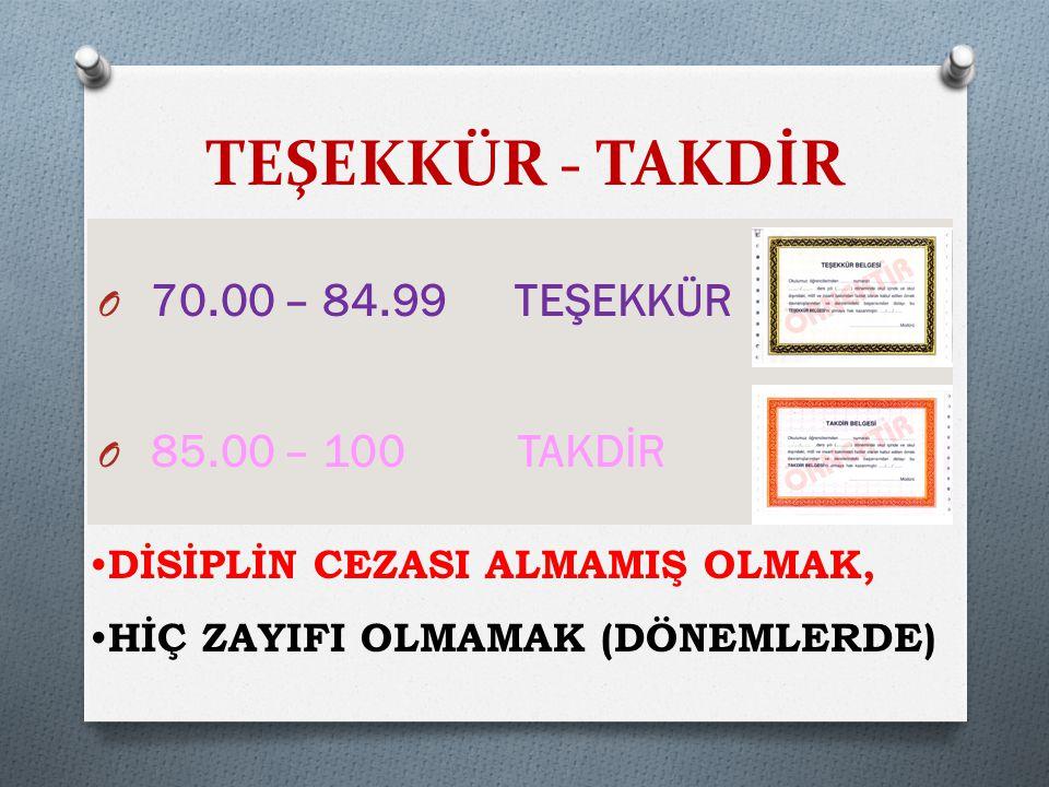 TEŞEKKÜR - TAKDİR 70.00 – 84.99 TEŞEKKÜR 85.00 – 100 TAKDİR