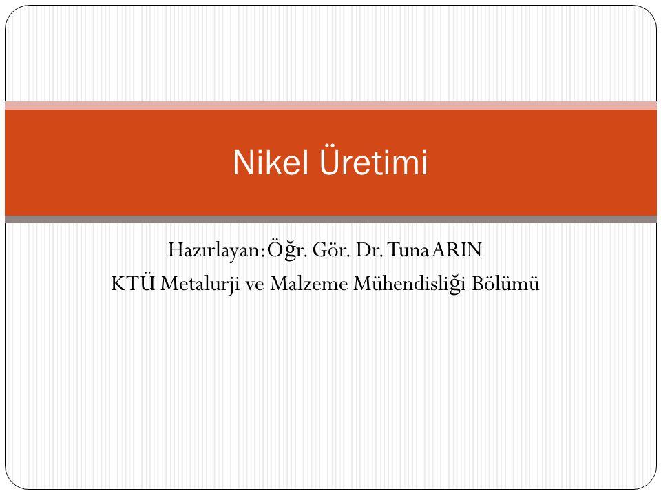 Nikel Üretimi Hazırlayan:Öğr. Gör. Dr. Tuna ARIN